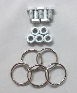 Cropped Head Bolts & Nuts With rings, pack of 5